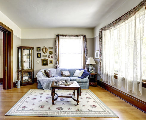 Bright living room interior with antique