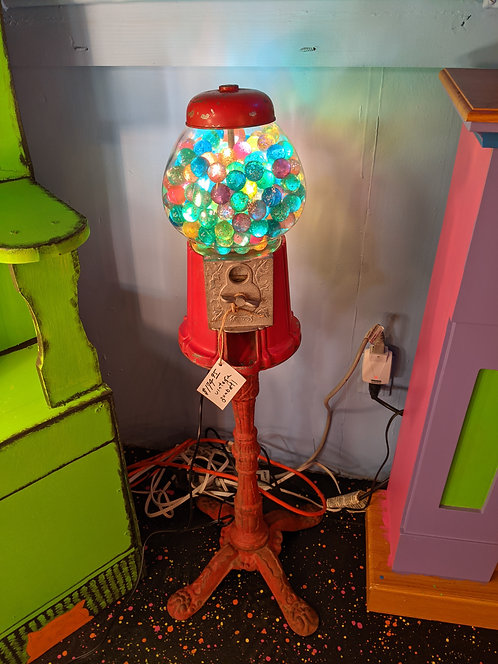 Vintage Gumball Machine Lamp W/ red stand