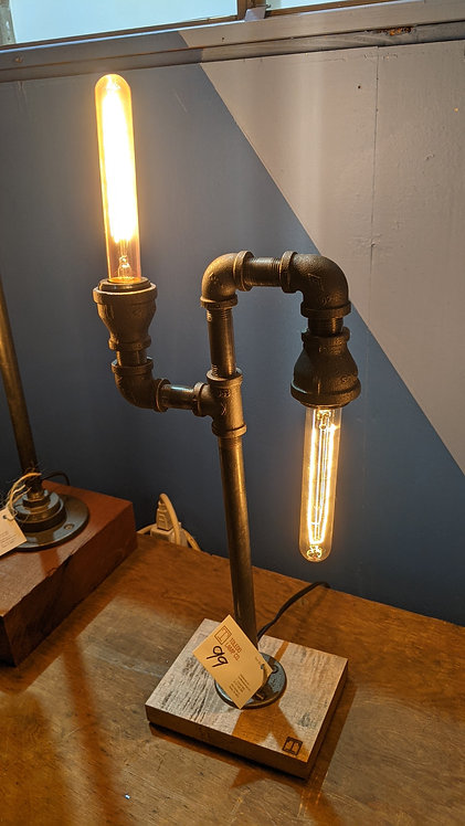 Staggered Industrial Table Lamp with Wood Base