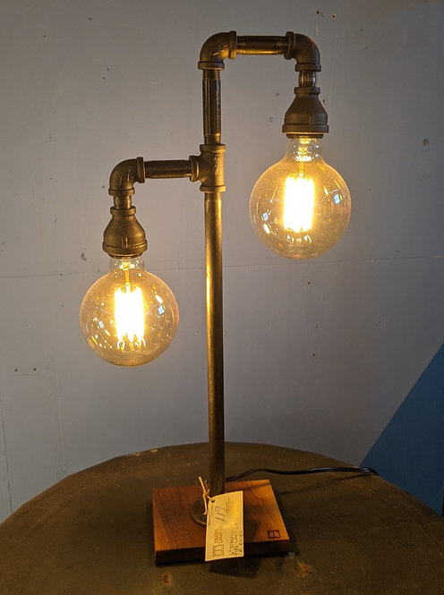 Industrial Metal Pipe Table Lamp, Double Light