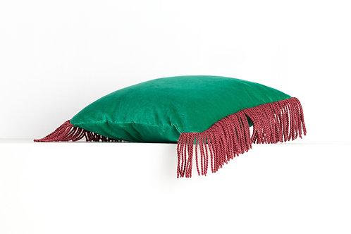 CHARLIE Vert veronèse & rouge framboise 45*45cm