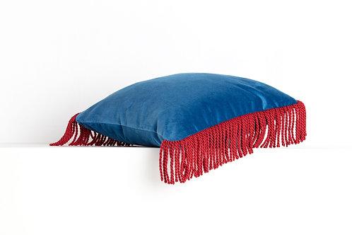 CHARLIE Bleu océan & rouge cardinal 45*45cm