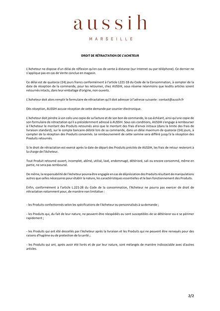 FORMULAIRE DE RETRACTATION 2/2