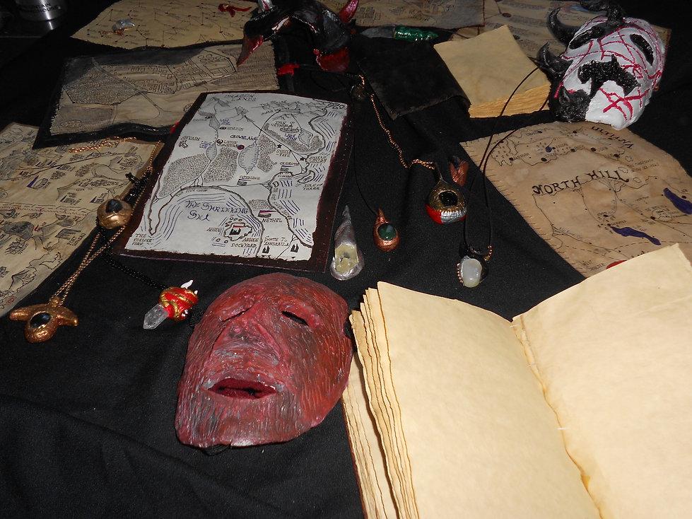crafts, masks, books, maps, amulets