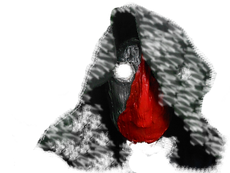 A clay mask with a black hood