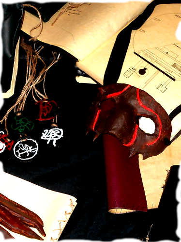 Books, amulets a mask, a pouch and a map