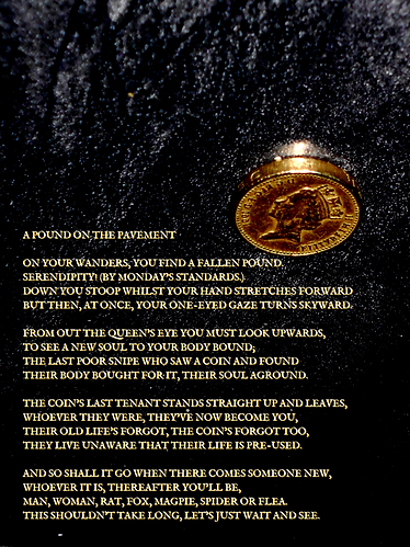 A narrative poem with attached old pound coin
