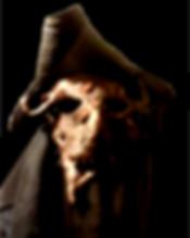 Greyscale demonic figure in tricorn hat