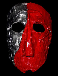 Grey and Red Clay Mask