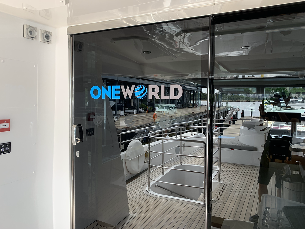 Oneworld Superyacht event branding Sydney behind the bar