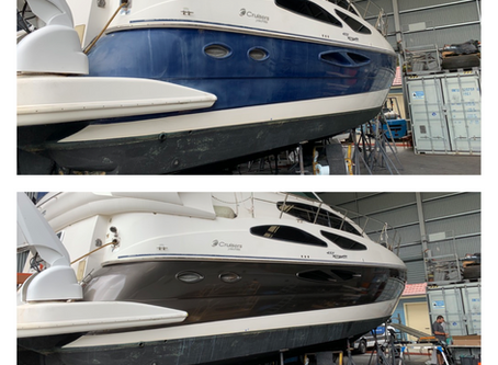 Vinyl Boat Wrap - Cruisers 455 gets hull wrap at Bobbin Head