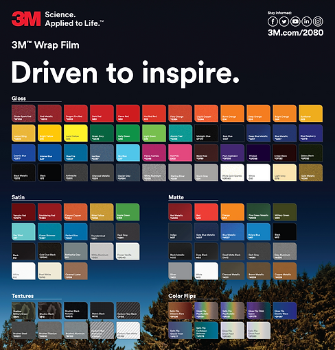 3M 2080 1080 Colour Chart Boat Wraps
