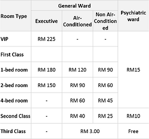 Malaysian Government Hospital Hospitalisation Bed/Room Charges