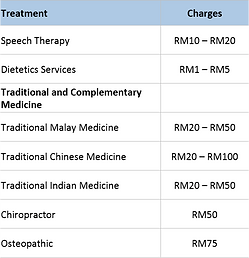 Malaysian Government Hospital Other Out-patient Charges