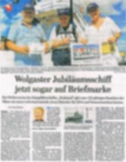 Zeitungsartikel Wolgaster Jubiläumsschiff jetzt sogar auf Briefmarke