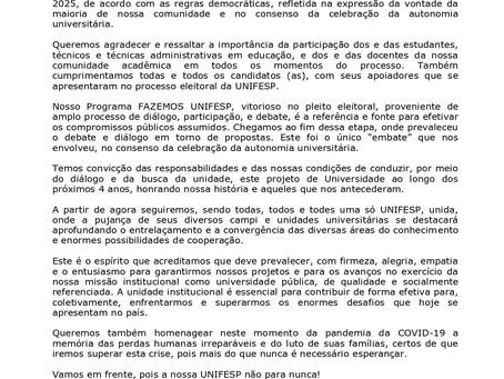 Carta à comunidade da Unifesp