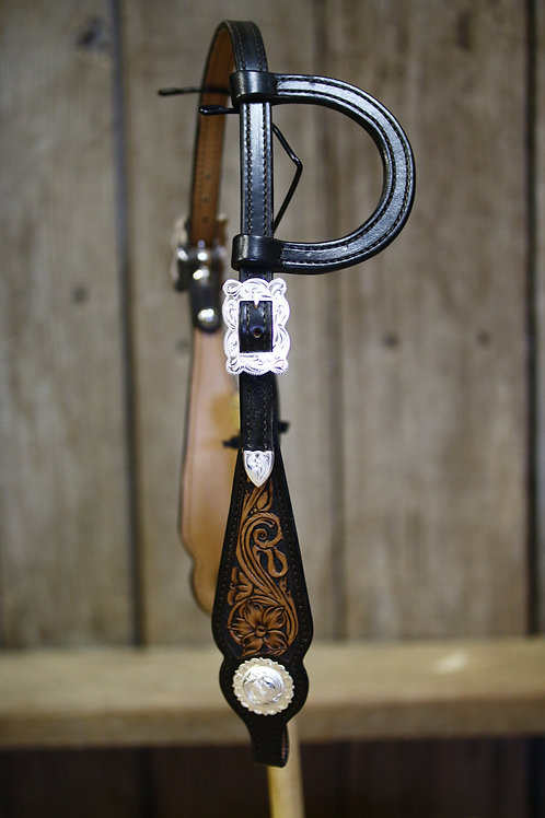 Show Headstall (dark edge with square scalloped buckle