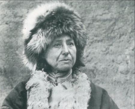 Alexandra David-Neel in her yak fur hat