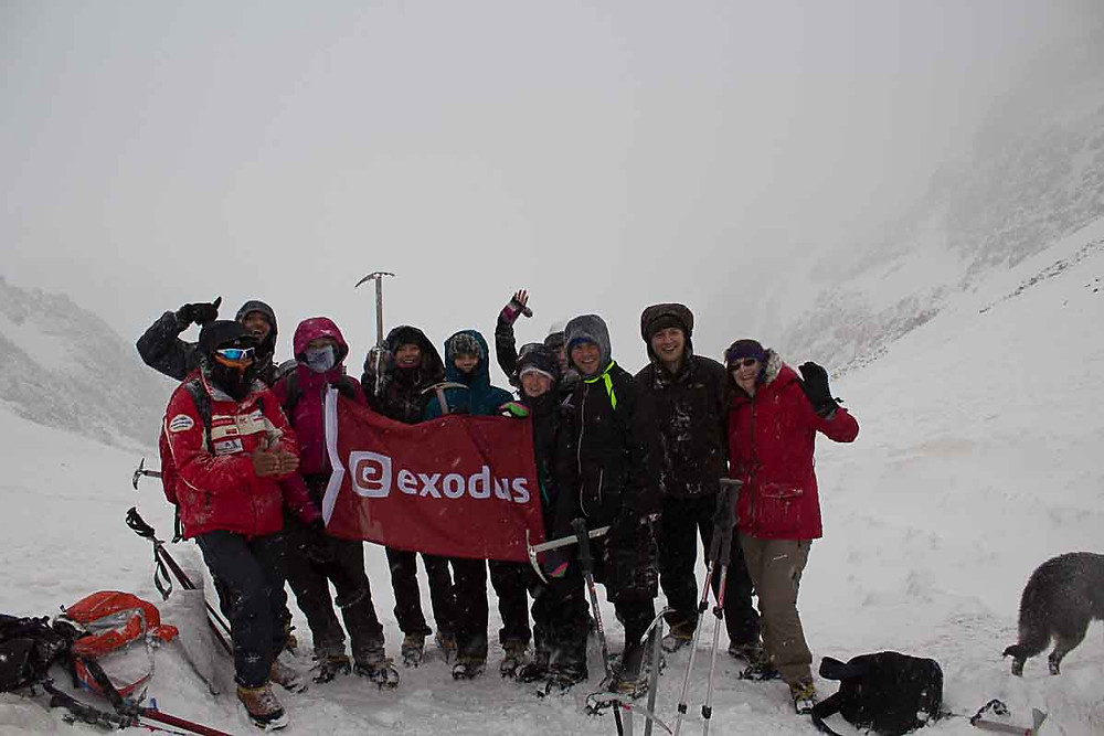 Elise Wortley and Exodus Travels group at the top of the pass, Morocco