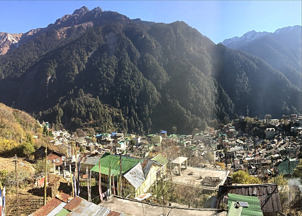View over Lachen, Sikkim, India. Woman with Altitude