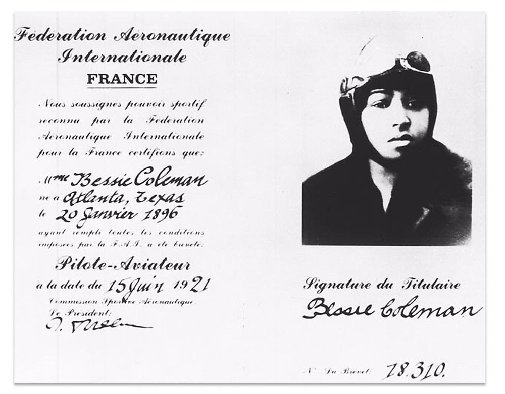 Bessie Coleman's pilots license. Image credit: Smithsonian National Space and Air Museum