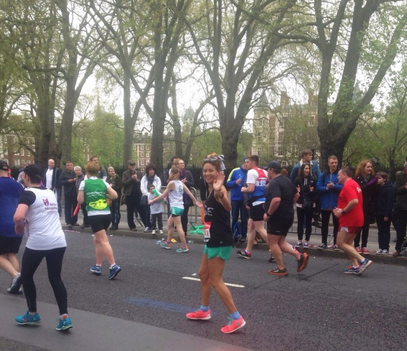 Elise Wortley, Mile 25 of the London Marathon. I am still running, just very slowly!