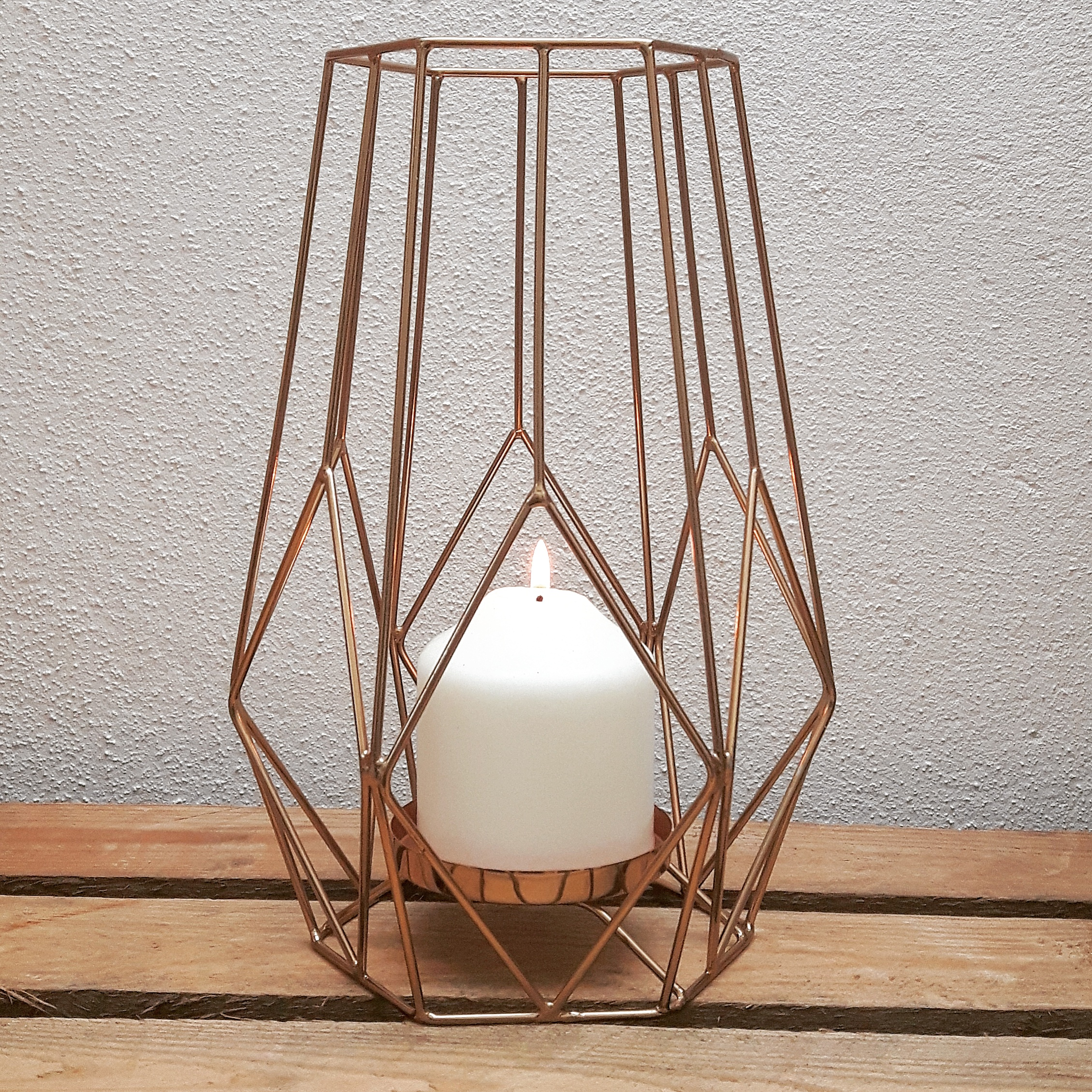 LARGE COPPER GEO CANDLE