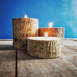 Wood candle cluster