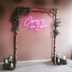 Crazy in love neon, wood arch, faux foliage