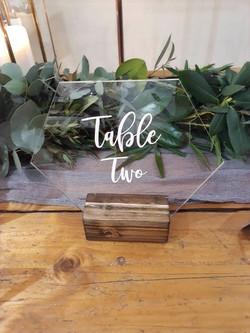 PERSPEX TABLE NUMBER