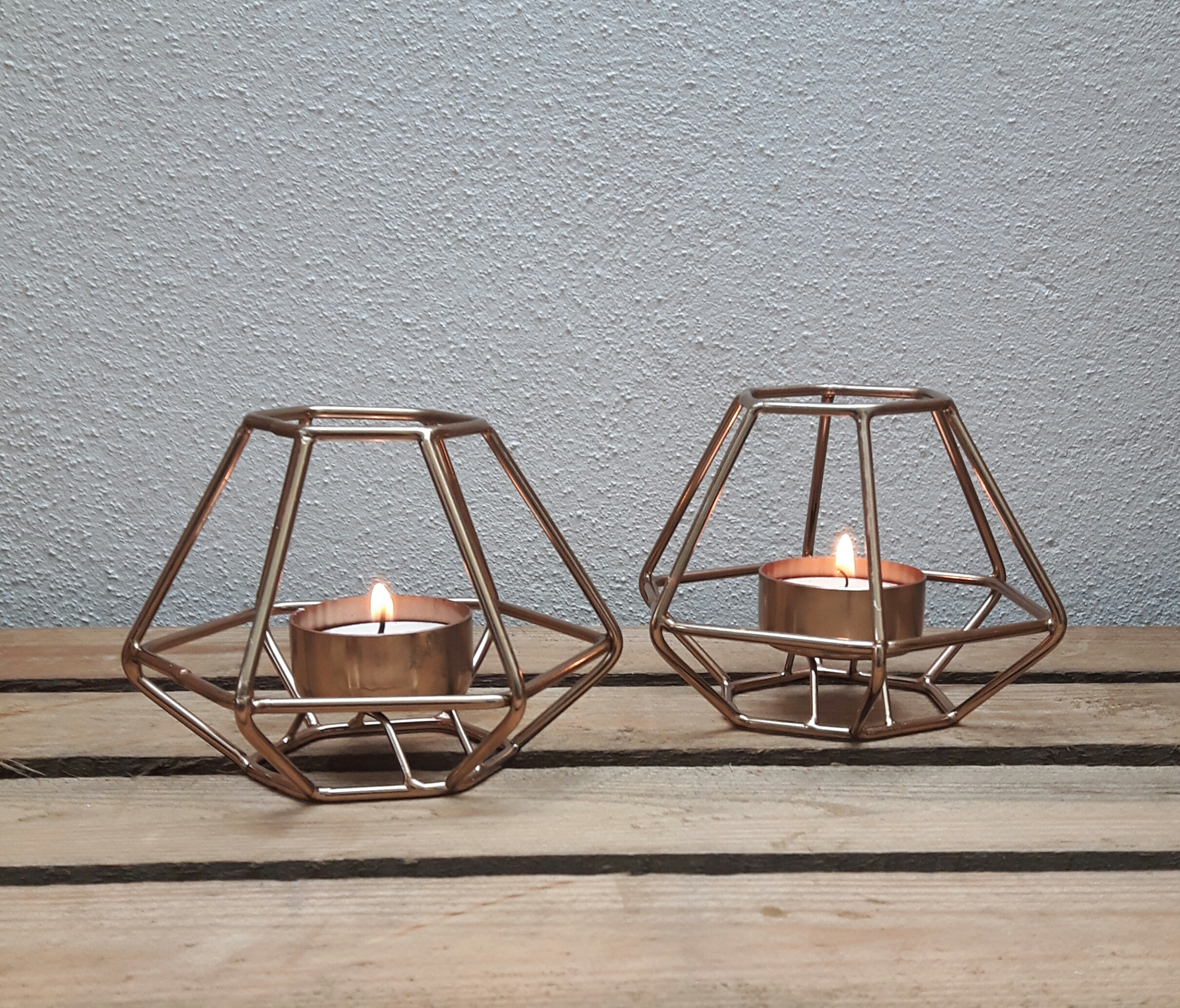 SMALL COPPER GEO CANDLE