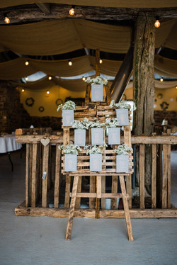 Wooden table plan with buckets