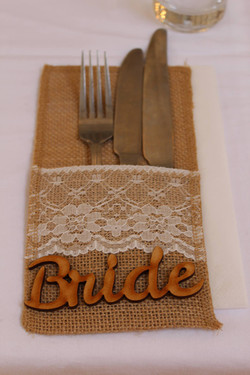 Hessian and lace cutlery pouch