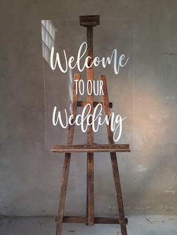 A1 Perspex Welcome with easel