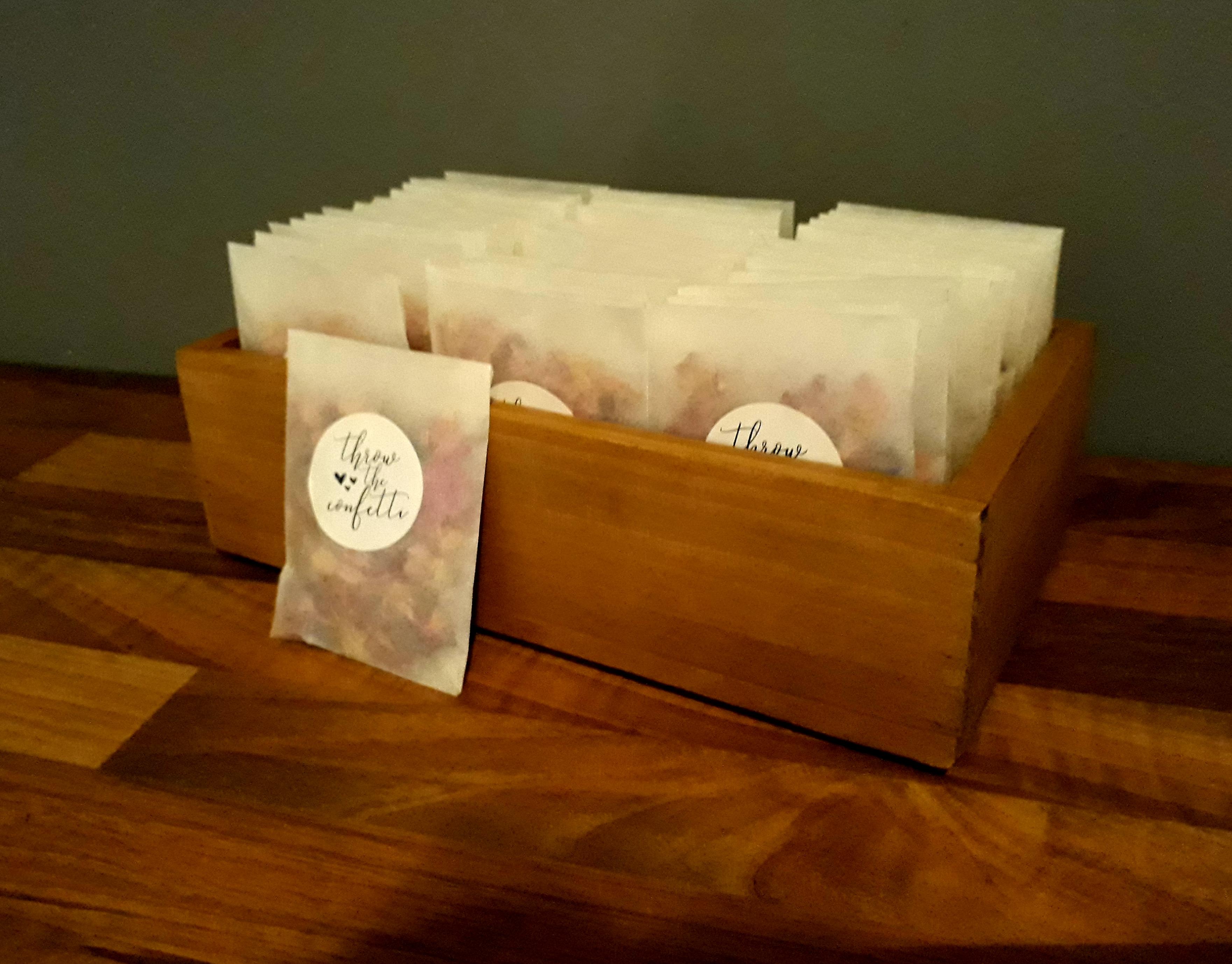 Wooden confetti box