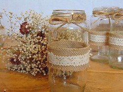 Hessian and lace jam jar