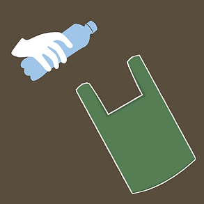 Gloved hand placing water bottle in a bag