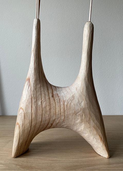 Jarron hecho a mano, Jarron de madera, Jarron escultorico