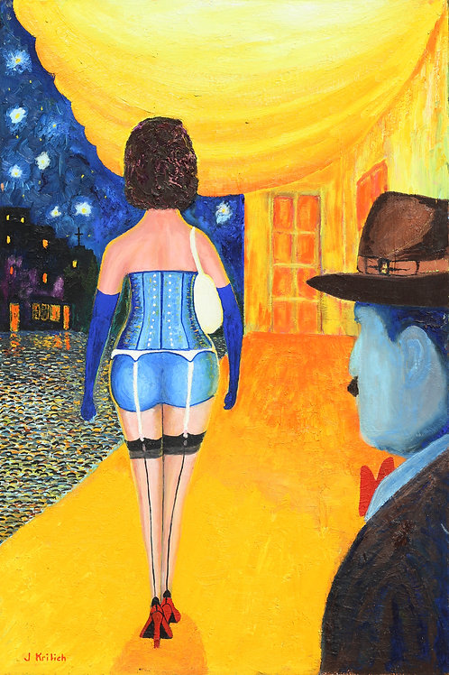 Woman Walking In Blue