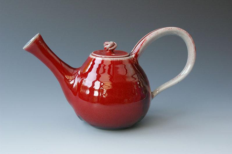 Oxblood Teapot. Stoneware. 5.5 tall. 100