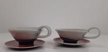 Pair Oxblood tea cups