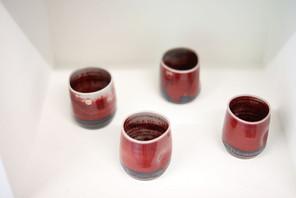 4 Oxblood fired pots