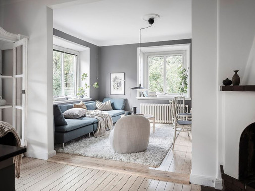 Home tour into a beautiful white, blue & grey appartment