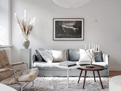 A bright white Scandinavian living kitchen