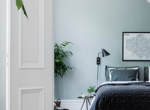 Cozy Bedroom in stylish green grey