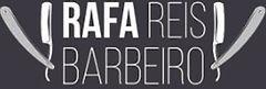 logotipo rafareisbarbeiro - nome com uma navalha de cada lado aberta