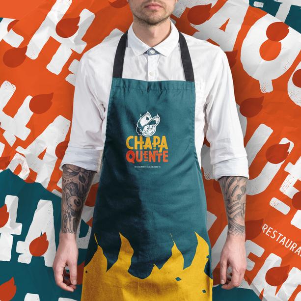 Criação de marca e identidade visual e papelaria para Chapa Quente - Lanchonete e Restaurante