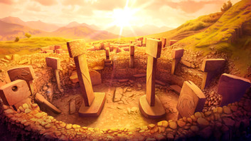 Concept design of the Göbeklitepe's main enclosure to be integrated in the gameplay