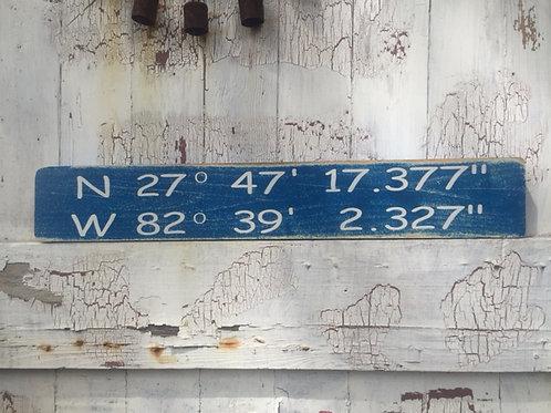"""Longitude & Latitude Sign (24"""" X 3.5"""")"""
