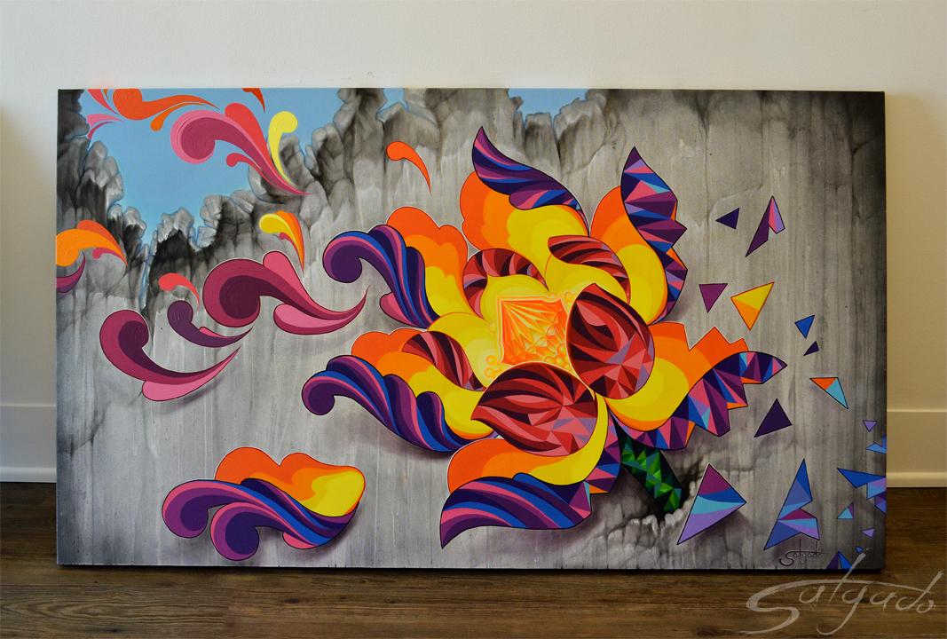 Florecer (acrylico y aerosol sobre lienz